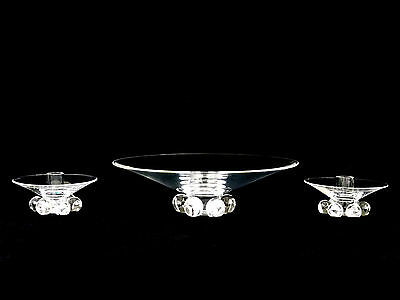 Steuben Crystal Console Set Flared Bowl Candle Holders by John Dreves