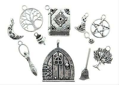 AVBeads Pagan Wicca Charms Mixed Set Silver Metal Charms 10pcs Tree Fairy Moon