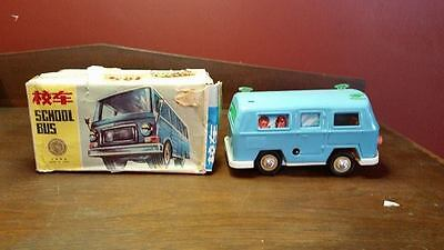 Vintage Chinese MS091 School Bus Tin Clockwork Wind-Up Toy with Original Box