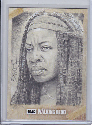2017 Topps Walking Dead Season 6 Jason Davies Sketch Card Michonne