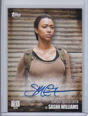 SONEQUA MARTIN-GREEN as SASHA 2017 TOPPS AMC WALKING DEAD SEASON 6 AUTOGRAPH
