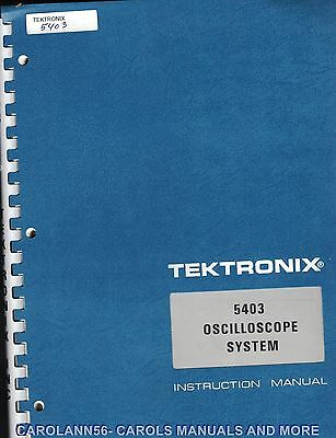 TEKTRONIX Manual 5403 OSCILLOSCOPE SYSTEM