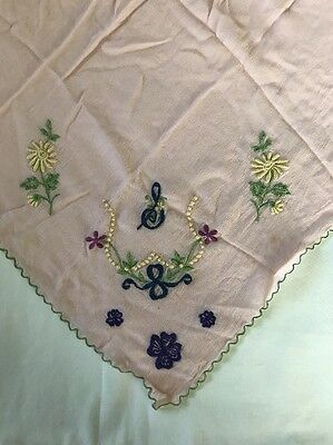 Vintage ORGANDY Hand Embroidered Placemat + Napkin PINK Flowers