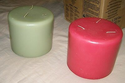 x2 large Partylite 3 wick Candles Raspberry ? + Wild Fern Party Lite