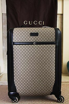 Authentic Gucci Supreme Diamante Carry-On Suitcase Luggage Black/Beige 293909