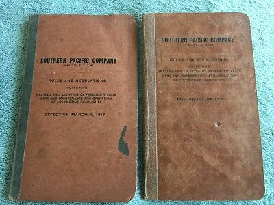 2 SOUTHERN PACIFIC COMPANY Rules & Regulations TRAIN Books 1917 & 1928