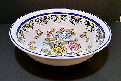 "Antique V.V. Carraresi Italian Oriental Style Large Bowl Floral Decorated 14""x4"""