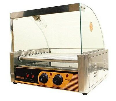 7 Roller Hotdog Sausage Grill Cooker Machine 18-24pc W/Cover !!CA Pick up Only!!