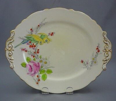 Hand Painted c1930 PRINCESS MARGARET ROSE Pink Paragon Bone CAKE SANDWICH PLATE