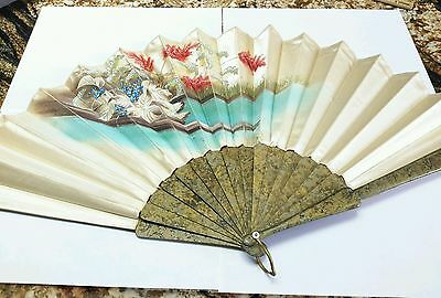 Vintage  Antique Chinese  Silk Fan. Laqured Woof AND Handpainted . 19TH Century