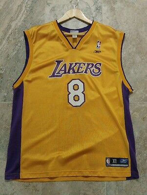 Vintage Kobe Bryant Lakers Reebok Screen Print Jersey sz XL