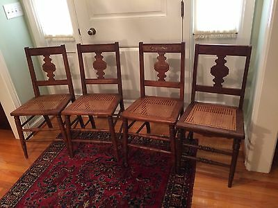 Eastlake Walnut Hand Caned Woven Seat Chairs.  Set of Four.  Vintage Seating