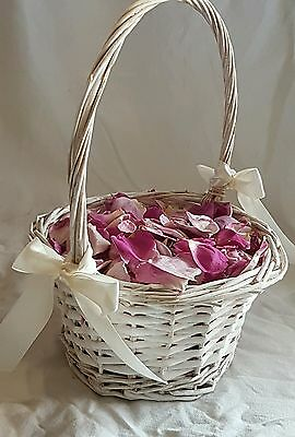 Flower Girl Basket with Real Freeze Dried Rose Petals - LILAC PURPLE