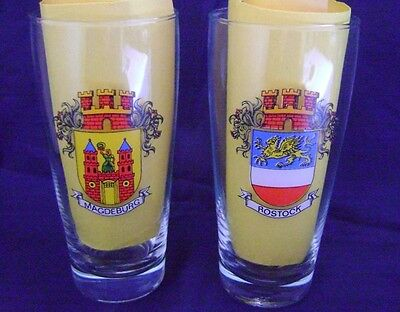 Vintage Bavarian German Beer Glasses 2-Pc Set with Coat of Arms 10 oz New