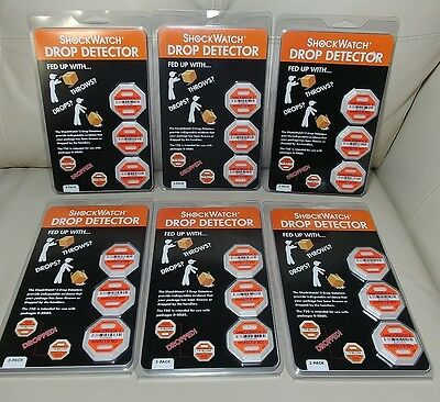 18 CT. (6 pkg of 3) ShockWatch 2 DROP DETECTOR SWDD-75 for Packages up to 50 LBS