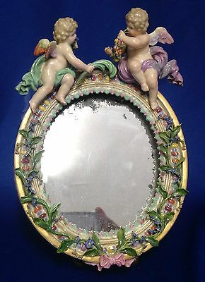 Incredible 19th C MEISSEN Standing Table Mirror in Original Case!  Make Offer!!