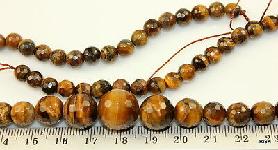 NG12 - Graduated Faceted Tiger Eye Gemstone Beads - 6mm to 14mm x 1 strand - 41g