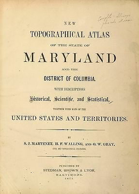 MARYLAND STATE ATLAS 1873 map old GENEALOGY DISTRICT COLUMBIA history DVD S16