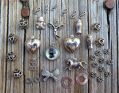 Sterling Silver Charm Lot 20grams~ Repousse Hearts ~ Cameo Charm ~Vintage Charms