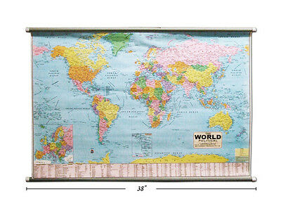 """NEW Office Works 20469 28x38"""" Laminated Double Rod Hanging World Map"""