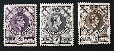 STAMPS X 3.SWAZILAND.KING GEORGE VI.SG36a 2/6d, SG37 5/-, SG38 10/-. MINT HINGED