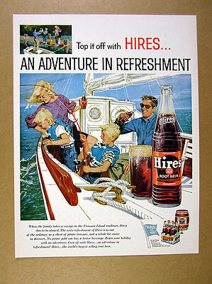 1959 Hires Root Beer family on boat fishing bottle glass art vintage print Ad