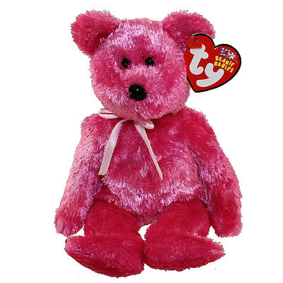 TY Beanie Baby - SHERBET the Bear (Raspberry Version) (8.5 inch) - MWMTs