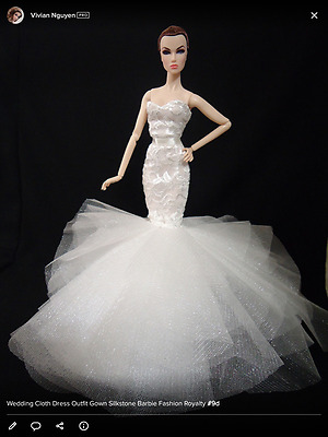Universalofthedoll WEDDING GOWN Cloth Dress Outfit Fashion Silkstone Barbie Doll