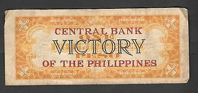 Philippines 1 Peso Victory 1949 Overprinted RED Central Bank of the Philippines