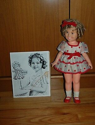 Antique Shirley Temple Doll + Shirley Temple Black & White Photograph