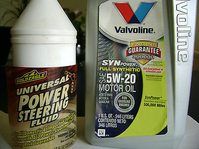 VALVOLINE VV927 Motor Oil Full Synthetic 5W-20 Gold Eagle Power Steering Fluid