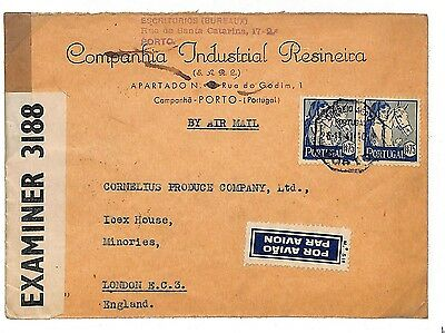 L65 1941 WW2 PORTUGAL WARTIME AIRMAIL Porto Cover GB Censor London *HORSES*