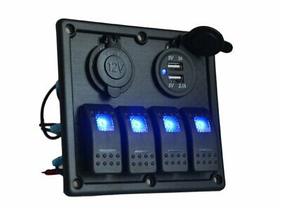 12V 24V 4 Gang LED Rocker Switch Panel USB Car Charger Boat Caravan