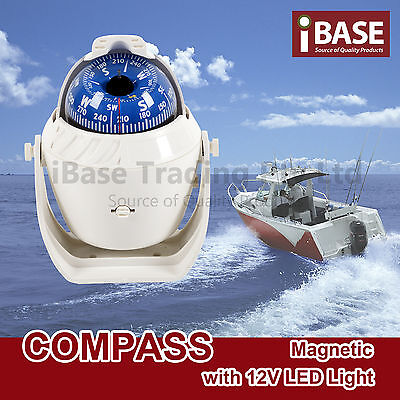 Compass Illuminated 12V Led Caravan Marine Boat Car Trucks  Navigation White New