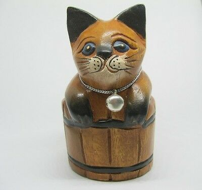 Wooden Cat In The Bucket Hand Carved Rain Tree Wood Kitty Cat Figurine Home Deco