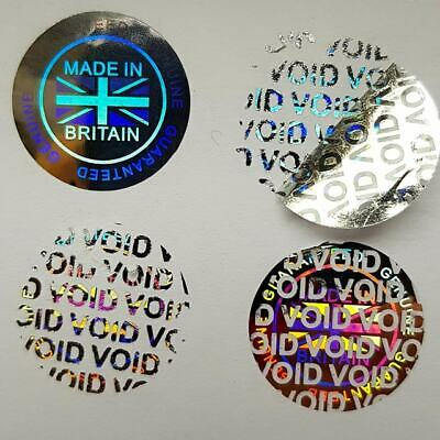 "Hologram Labels Sticker Warranty Void If Removed 20mm or 35mm  ""Made in Britain"""