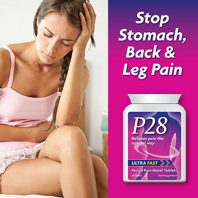 P28 Ultra Fast Period Pain Relief Tablets Stop Stomach Back Leg Pain Nausea Pmt