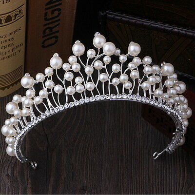 7cm High Big Pearl Crystal Wedding Bridal Party Pageant Prom Tiara Crown
