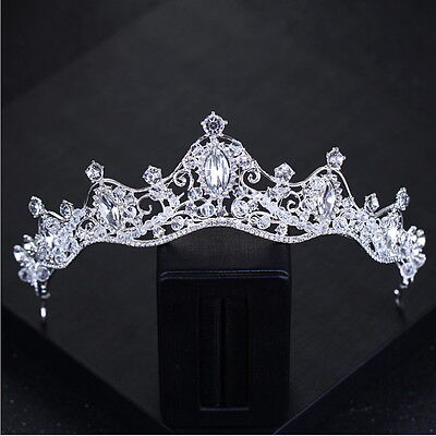 7cm High Wavy Crystal Beads White Wedding Bridal Party Pageant Prom Tiara Crown
