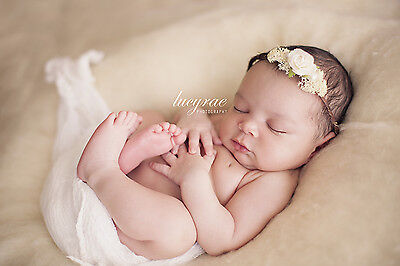Baby Newborn Cream Rustic Floral Headband Halo Photography Photo Prop Wedding