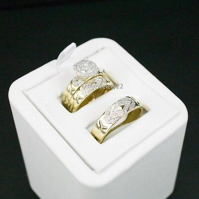14K Yellow Gold Trio 2.1 Ct Diamond Engagement Ring His / Her Bridal Wedding Set
