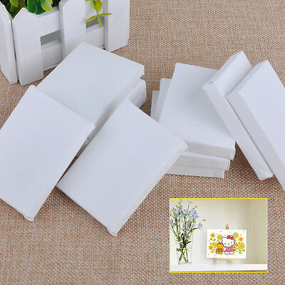 10xWhite Blank Cotton Stretched Canvas Board Acrylic Oil Paint Art Craft 7x5cm