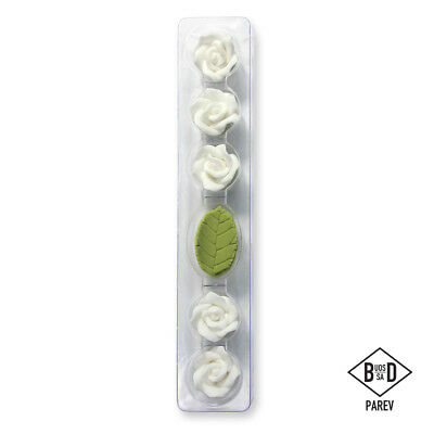 PME Cake Icing Sugarcraft Edible Decoration Ready Made Five Roses & Leaves White
