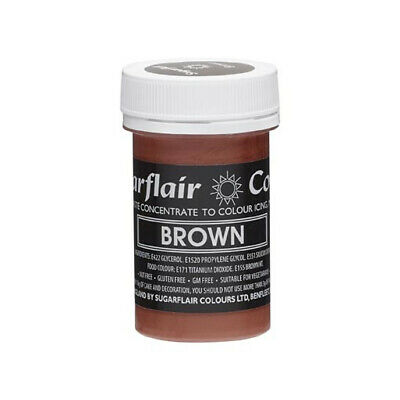 Sugarflair BROWN Pastel Paste Gel Edible Concentrated Food Icing Colouring 25G