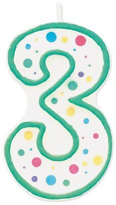 Wilton #3 Three Number Numeral Birthday Cake Candle Decoration Green