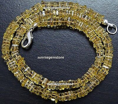 """Natural Gemstone CITRINE 5 mm Square Heishi Beads 16"""" Finished NECKLACE 100 Cts"""