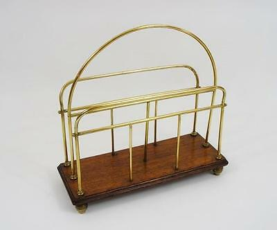Edwardian decorative Brass & Oak desk top  magazine or letter rack