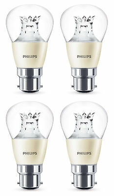4 x Philips Warm Glow LED B22 Bayonet 40w Dimmable Mini Globe Light Bulb 470lm
