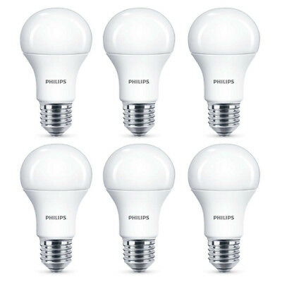 6x Philips LED Frosted E27 75w Warm White Edison Screw Light Bulbs Lamp 1055Lm