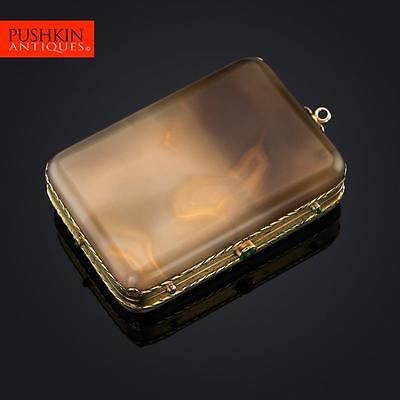 ANTIQUE 20thC FRENCH 18K GOLD MOUNTED AGATE MINAUDIERE c.1900